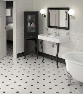 Black and white octagon bathroom tile