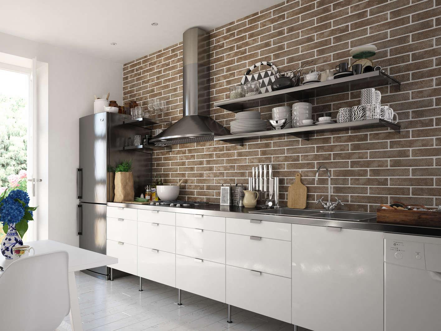керамическая кухне фото на плитка под кирпич