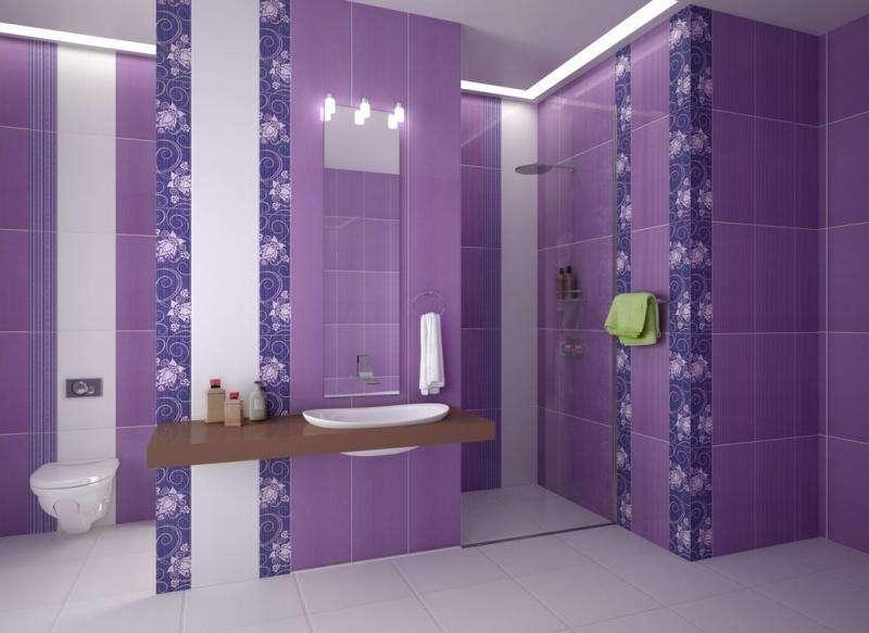 Дизайн плитки ванна лиловый