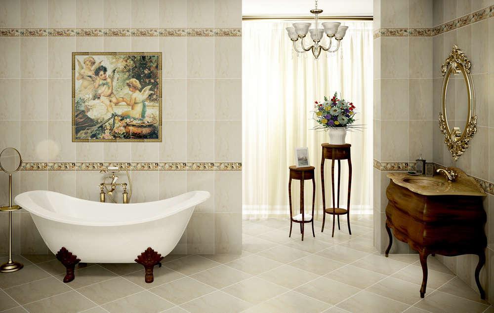 Дизайн ванной комнаты из испанской плитки